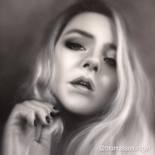 black and grey airbrush portrait of blond girl