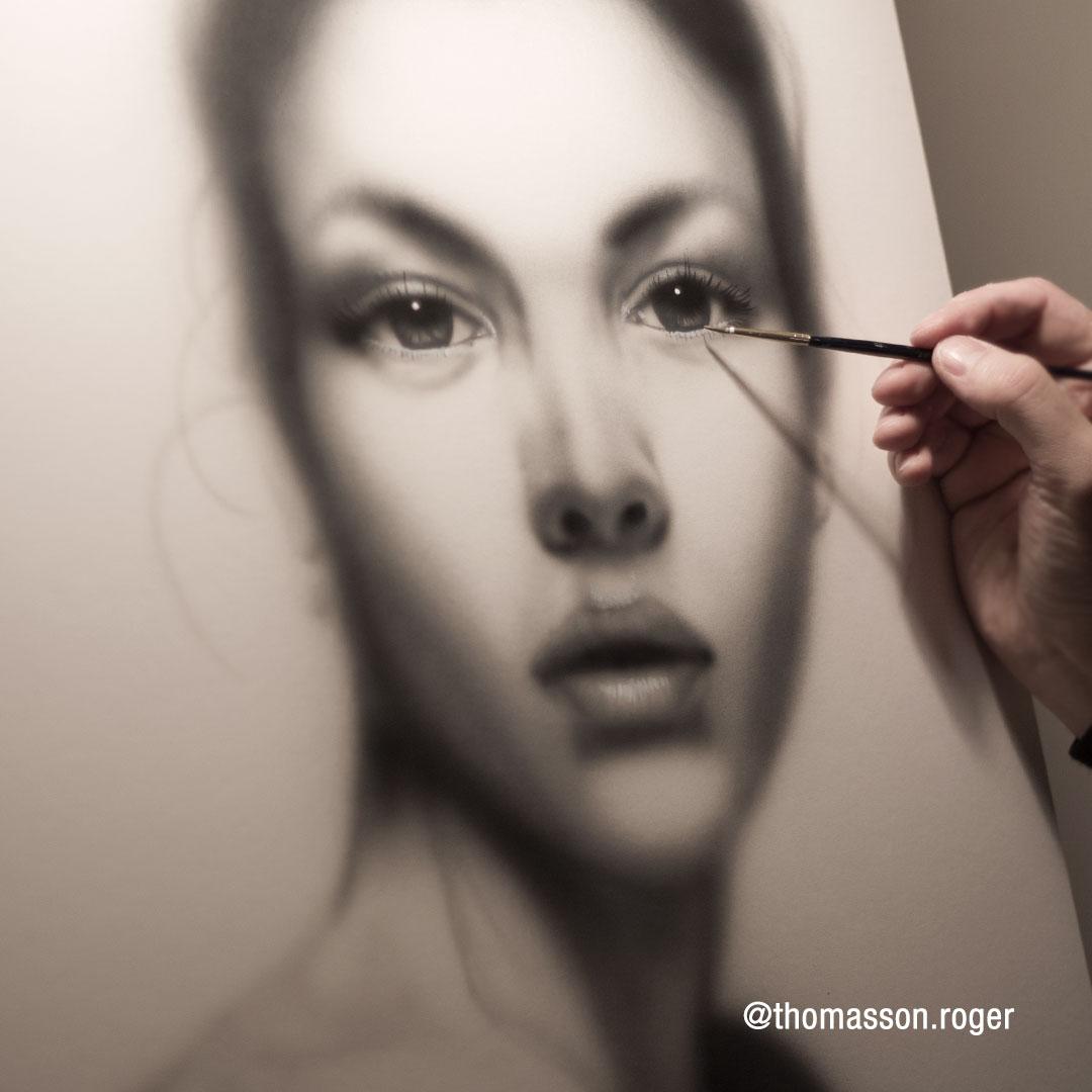 painting grey portrait