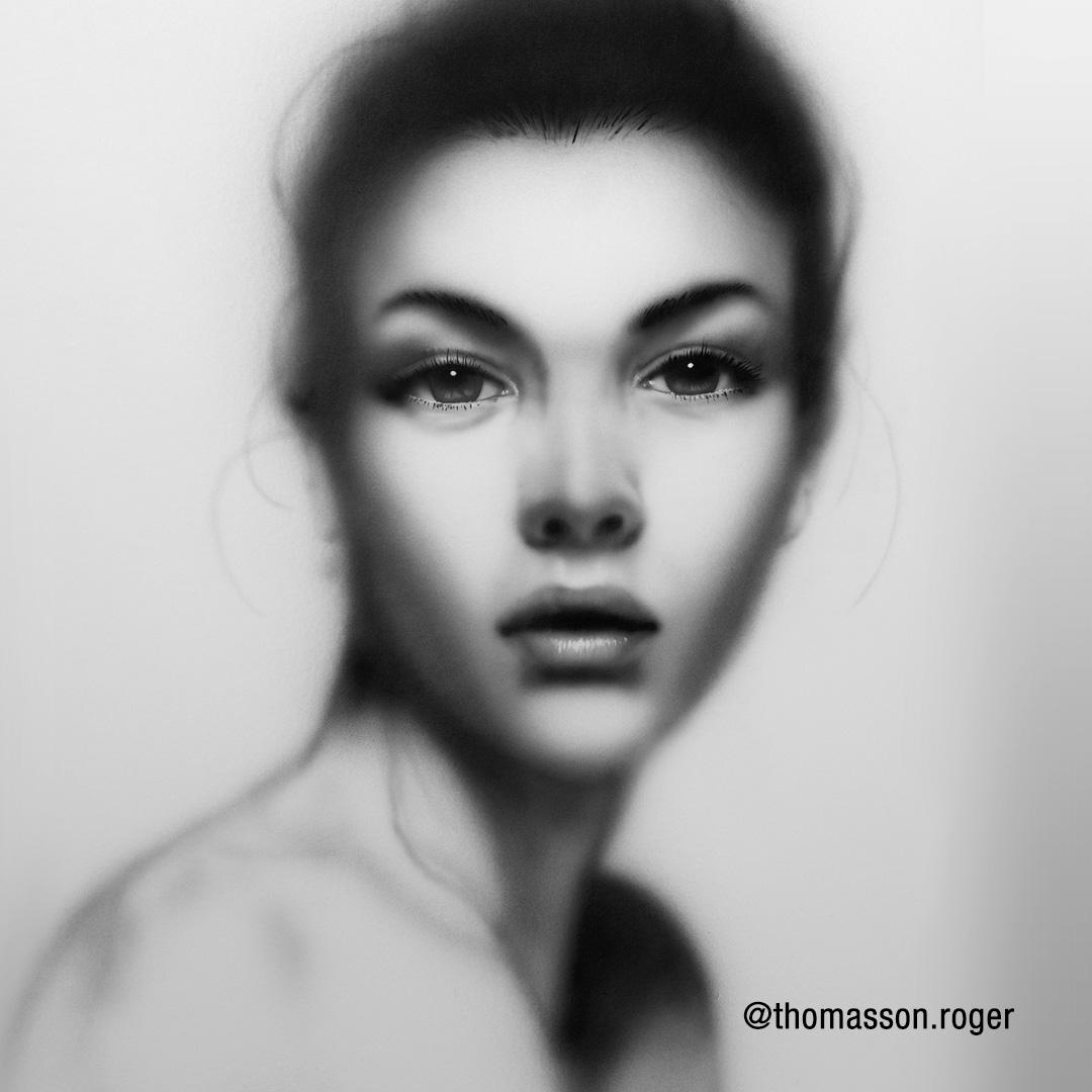 Finished airbrush portrait