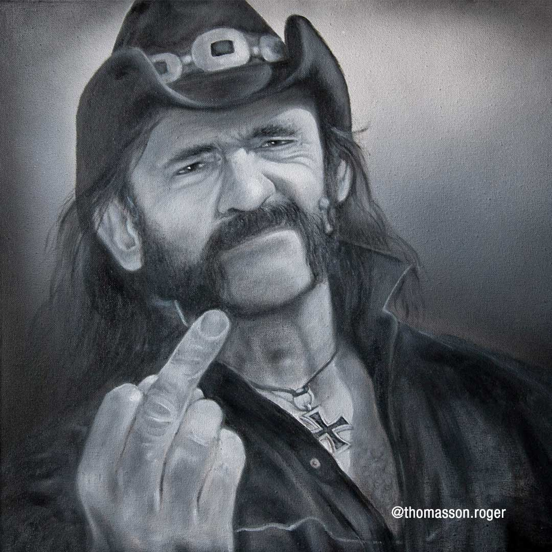 oil painting of lemmy from motorhead
