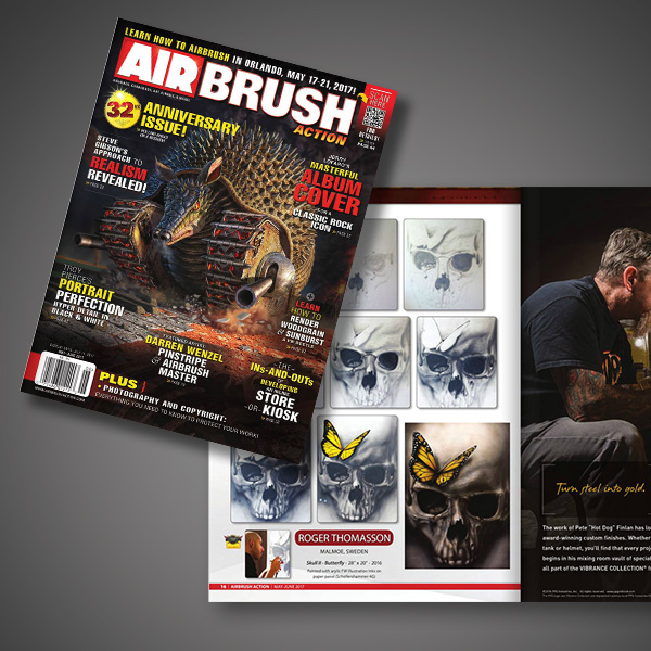 Step by step painting by Roger Thomasson in airbrush magazine