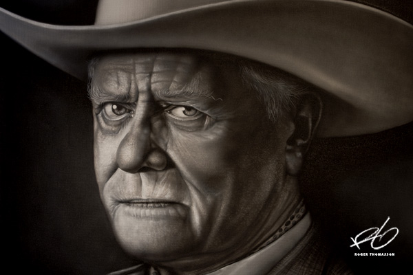 airbrush JR Ewing art by roger thomasson