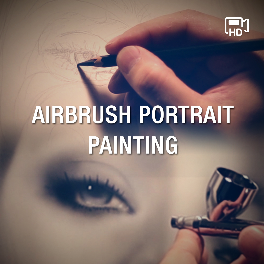 Video showing the making of black and grey female airbrush portrait
