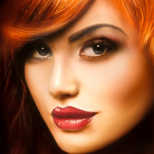 airbrush portrait of red haired girl