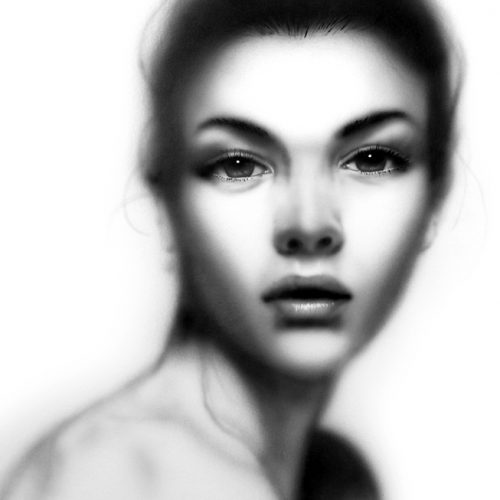 black and grey airbrush portait of model