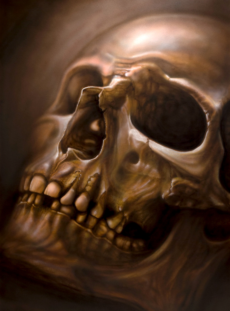 skull painted with airbrush