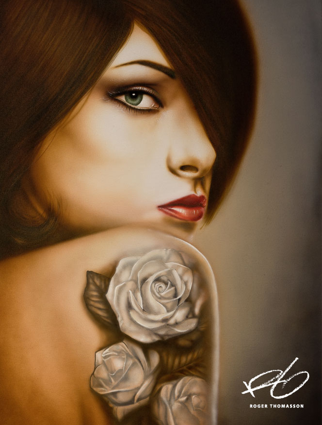female with tattoo painting